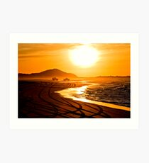 Beach highway sunset (Moreton Island, Australia) Art Print