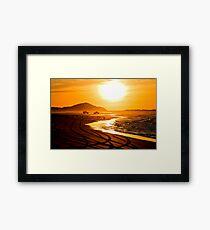 Beach highway sunset (Moreton Island, Australia) Framed Print