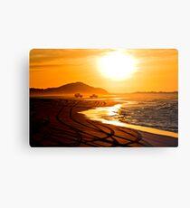 Beach highway sunset (Moreton Island, Australia) Metal Print