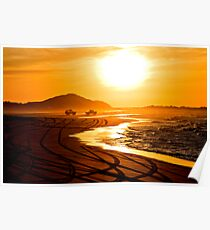 Beach highway sunset (Moreton Island, Australia) Poster