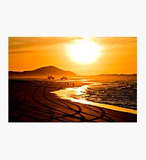 Beach highway sunset (Moreton Island, Australia) Photographic Print