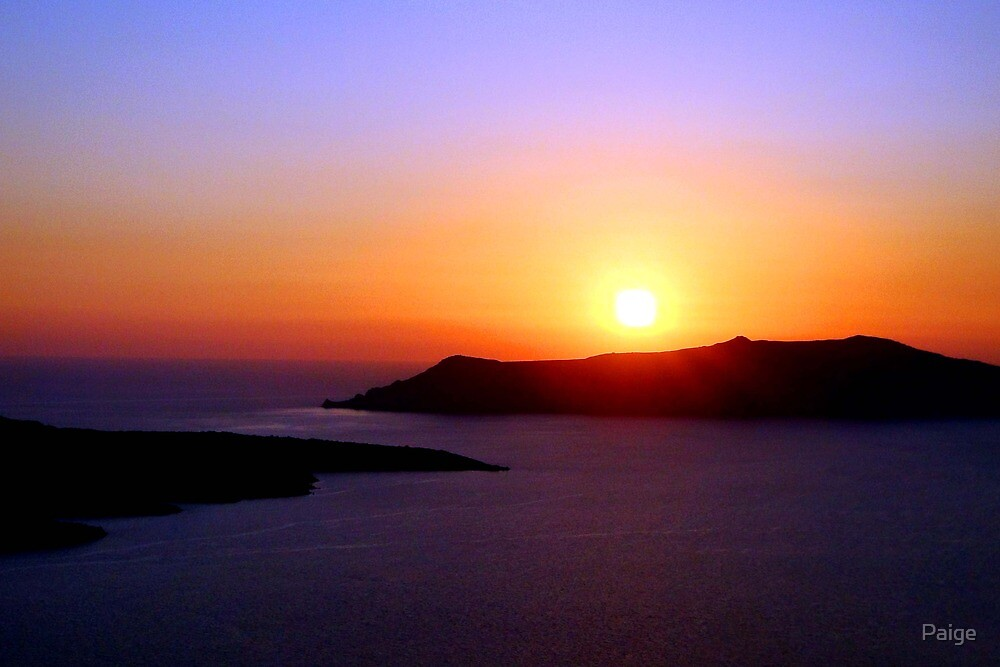 Sunset over Santorini by Paige