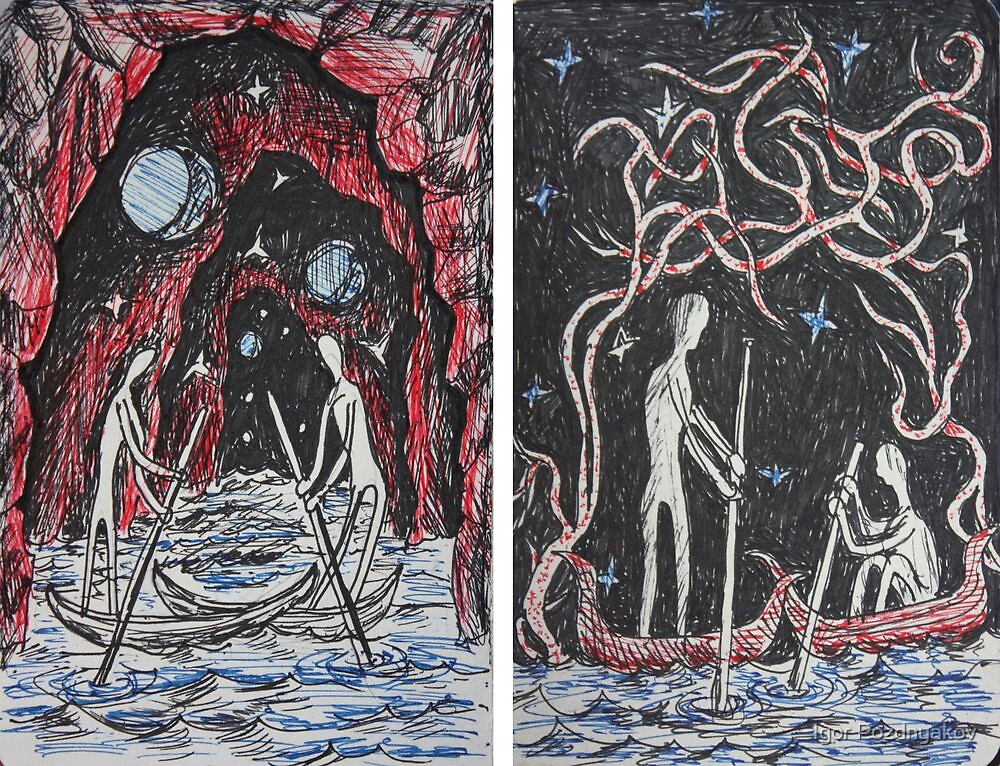 Ink Sketches - Boatmen I & II 2012 by Igor Pozdnyakov