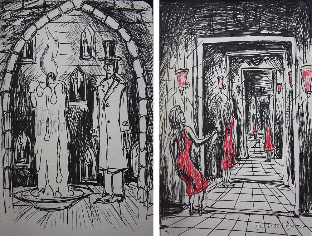 Ink Sketches - The Candle and The Doorways by Igor Pozdnyakov