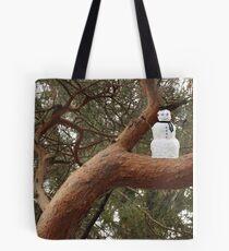 Snowman Climbed Tree Tote Bag