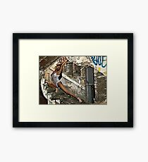 Whitney's graceful curve matched that of the deralict stairway. Framed Print