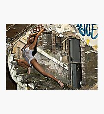 Whitney's graceful curve matched that of the deralict stairway. Photographic Print
