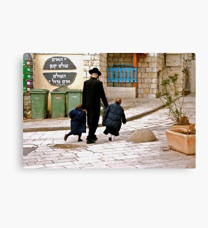 A Family Walks Home - Safed, Israel Canvas Print