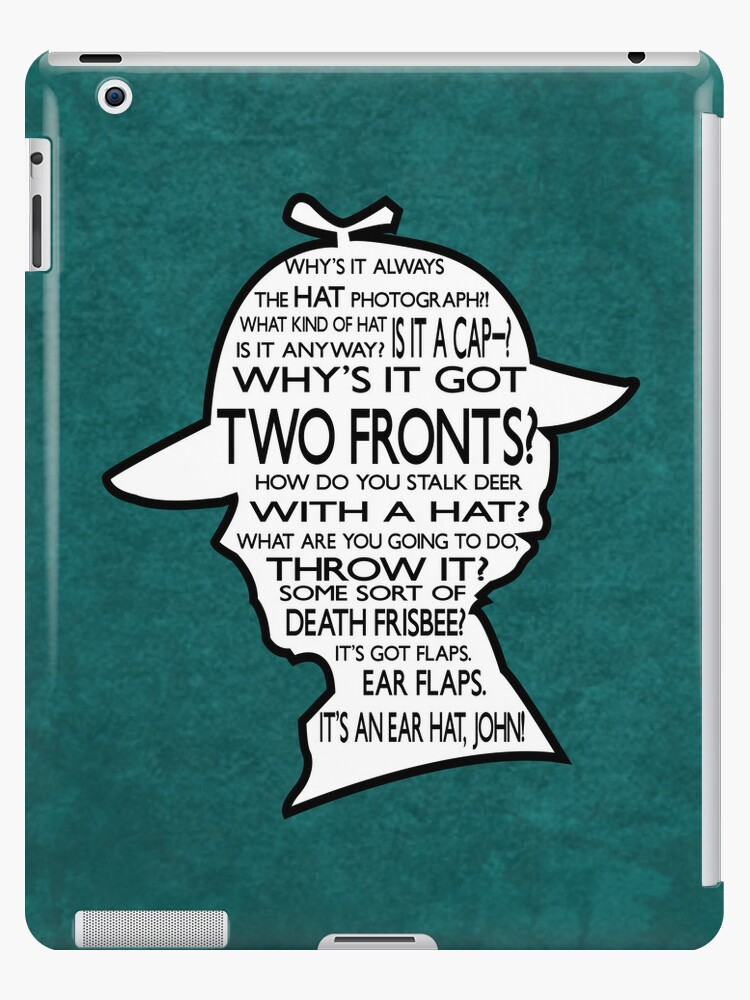 Sherlock's Hat Rant iPad Case - Teal by jlechuga