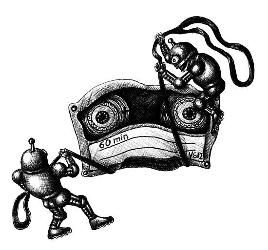 Robots Destroying the Cassette Tape pen ink drawing by Vitaliy Gonikman