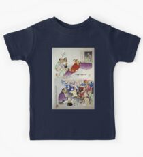 Humorous pictures showing Chinese religious practices  may include Raijin the Japanese God of Thunder seated in front in bottom cartoon 001 Kids Clothes