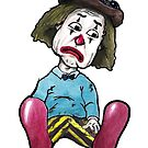Sad Clown \ Cartoon Illustration by Derek Michael Brennan