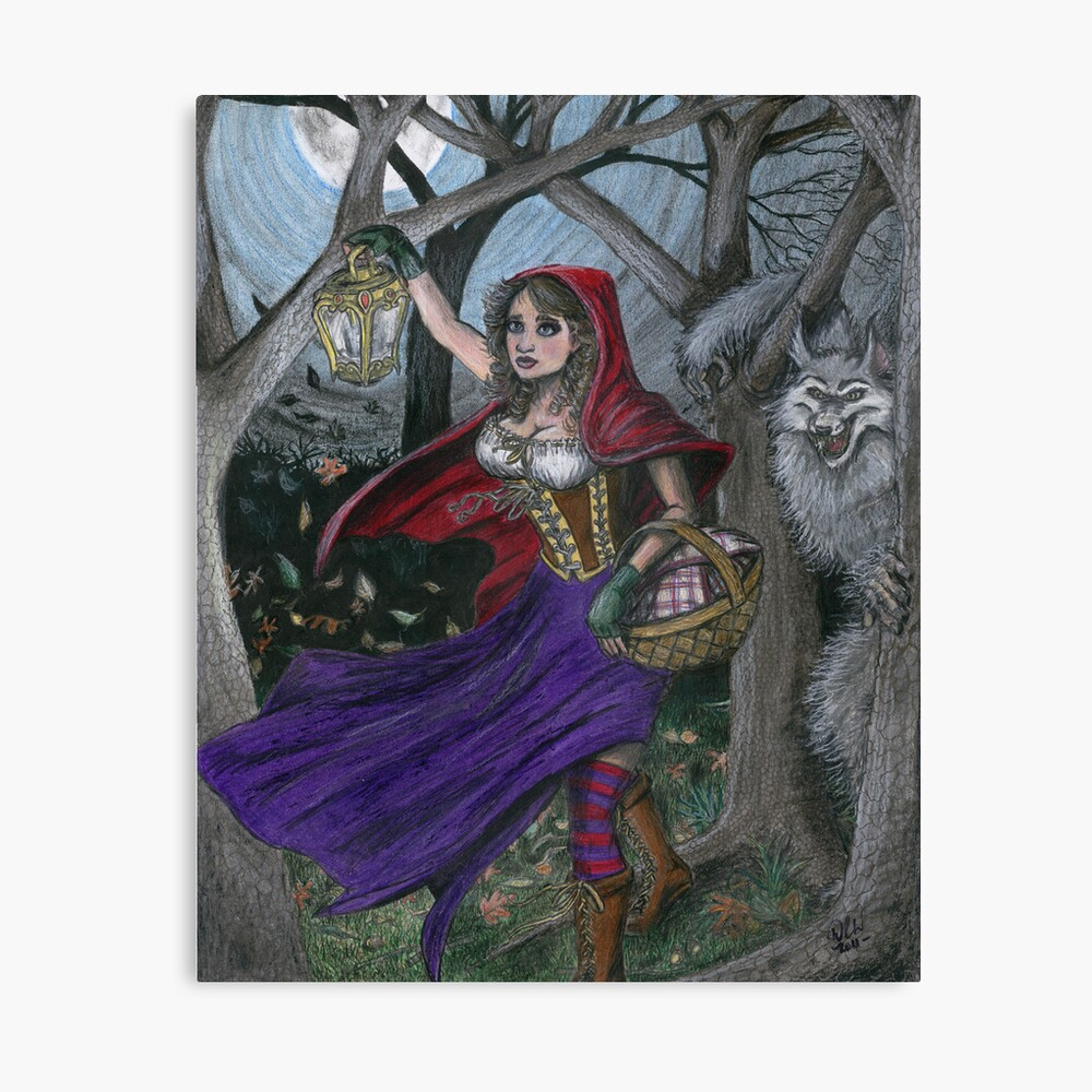 Little Red and the Big Bad Wolf Canvas Print