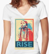 RISE - Idle No More - by Aaron Paquette Women's Fitted V-Neck T-Shirt
