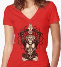 Chakra Monkey Tonight Women's Fitted V-Neck T-Shirt