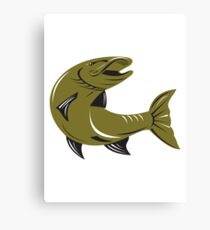 Muskie Muskellunge Fish Retro  Canvas Print