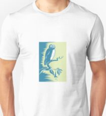 Owl on Branch Retro  Unisex T-Shirt