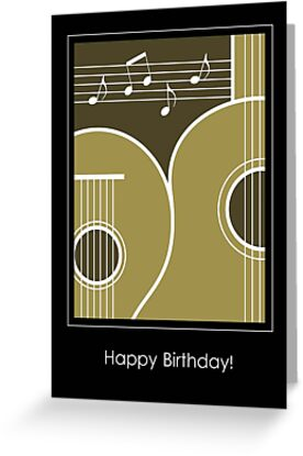 Graphic Guitar And Music Notes Birthday Card By NestToNest