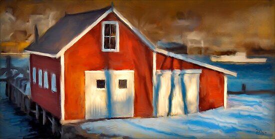Fishhouse, New Harbor Maine by Dave  Higgins