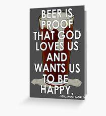 Ben Franklin on Beer Greeting Card
