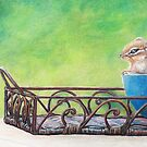 Chipmunk in Blue Bowl by Charlotte Yealey