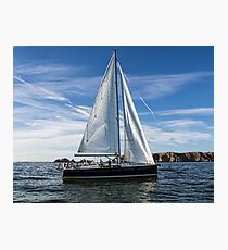 A sail boat off Alderney  Photographic Print