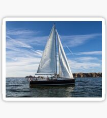 A sail boat off Alderney  Sticker