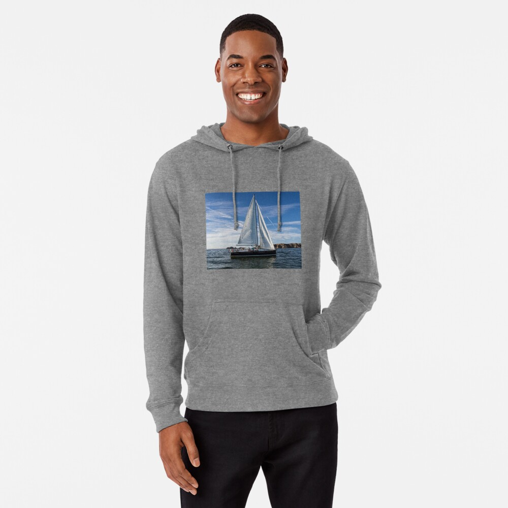 A sail boat off Alderney  Lightweight Hoodie