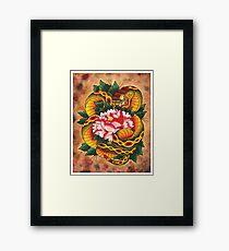 Snake and Peony Flower Framed Print