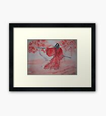 Chinese Ink III - Warrior Woman  Framed Print
