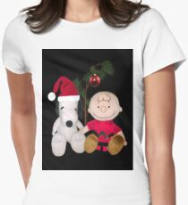 SNOOPY & CHARLIE BROWN FESTIVE CHRISTMAS-JOURNAL.. PICTURE AND OR CARD ECT Women's Fitted T-Shirt