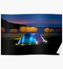 Illuminated tent on dam Poster