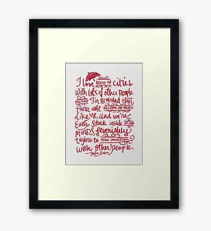 Being In Cities Framed Print