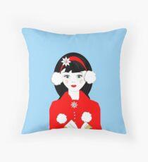 Pretty Christmas Carol Singer Throw Pillow