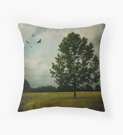 Lone Tree with Birds Throw Pillow