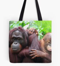 Orangutan mother and child Tote Bag