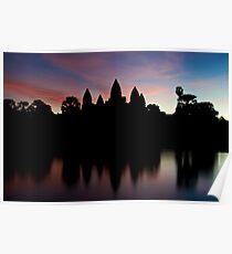 Angkor Wat temples at sunrise Poster