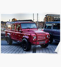 Red Carbon Fibre Bodied LandRover Poster
