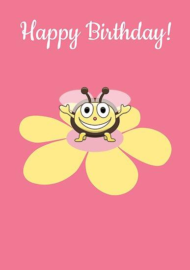 Happy Cartoon Bee On Flower Birthday Card