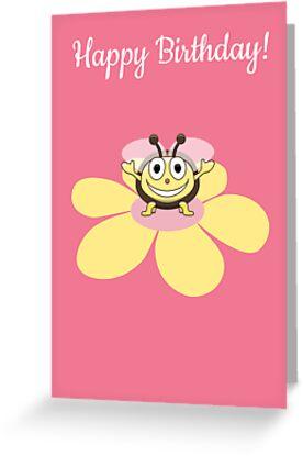 Happy Cartoon Bee on Flower Birthday Card by Boriana Giormova