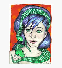 Woman with Snakes Photographic Print