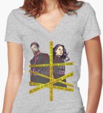 Crime Scene Women's Fitted V-Neck T-Shirt