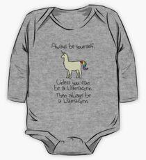 Sei immer du selbst, es sei denn du kannst ein Llamacorn sein Baby Body Langarm