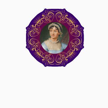 Jane Austen Portrait in Gold Frame by frogcreek