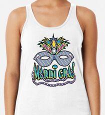 Mardi Gras Mask & Beads Racerback Tank Top