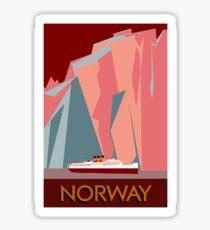 Norway fjords retro vintage style cruise travel  Sticker