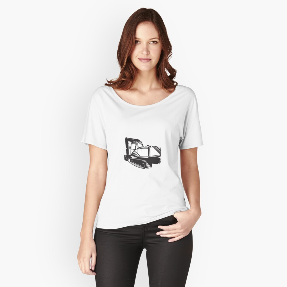 Mechanical Digger Excavator Retro  Women's Relaxed Fit T-Shirt Front