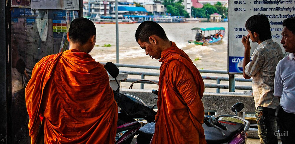 Waiting for the water taxi Bangkok by Gwill