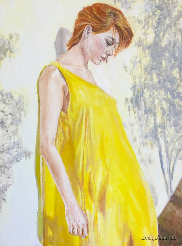Summertme Ennui - Painting of a Girl with Red Hair in a Yellow Dress by EmilyDewsnap
