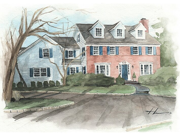 Watercolor brick house by Mike Theuer